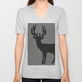 reindeer silhouette grey Unisex V-Neck