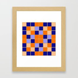 Blues and oranges check Framed Art Print