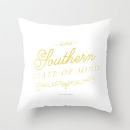 Southern State of Mind (Gold Foil) Throw Pillow