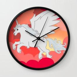 Alicorn at Sunset Wall Clock