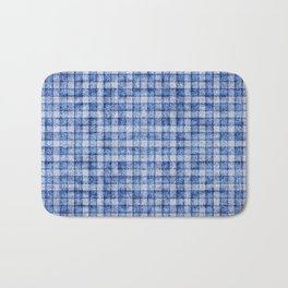 Blue Gingham Velvety Faux Terry Toweling Bath Mat