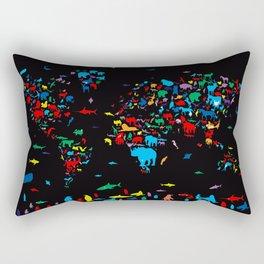 world map animals black Rectangular Pillow
