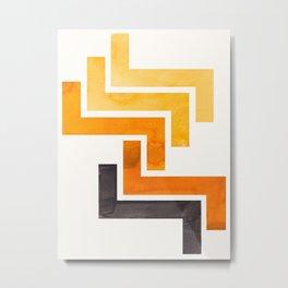 Yellow Ochre Ancient Aztec Pattern Mid-century Modern Simple Geometric Pattern Watercolor Minimalist Metal Print