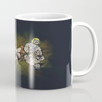 teen titans Mugs featuring CLASH OF THE TITANS  by Peter Kramar