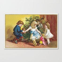 Vintage Christmas Card 1880 Julekort Canvas Print