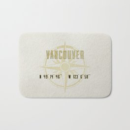 Vancouver - Vintage Map and Location Bath Mat