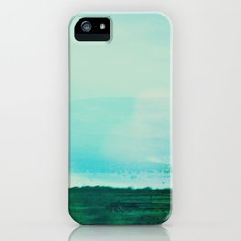 Astract Modern Landscape Wall Art Green and Blue Color Block iPhone Case