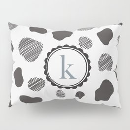 """K"" Monogram with Cow Pattern Pillow Sham"