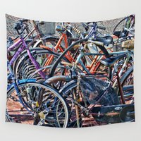 bicycles Wall Tapestries featuring Lots of colorfull bicycles by Claude Gariepy