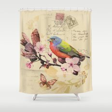 Vintage illustration with bird and butterfly Shower Curtain