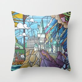 Hogwarts stained glass style Throw Pillow