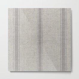 Vintage farmhouse Grain sack Stripes linen Metal Print