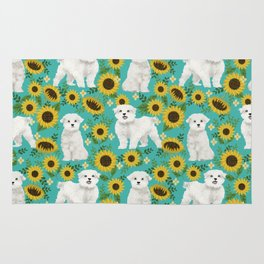 Maltese dog breed floral sunflower summer pattern dog gifts pet friendly dogs Rug