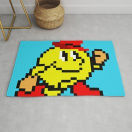 Jumping Pacland retro game sprite Rug