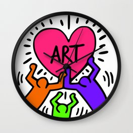 "Keith Haring inspired ""I Love Art"" Secondary Colors edition Wall Clock"