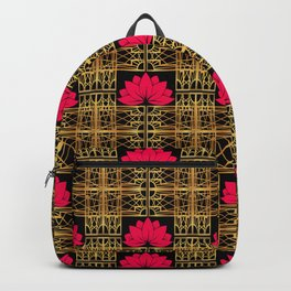 Art Deco Retro Lotus (amaranth-black) Backpack