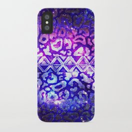 TRIBAL LEOPARD GALAXY Animal Print Aztec Native Pattern Geometric Purple Blue Ombre Space Galactic iPhone Case