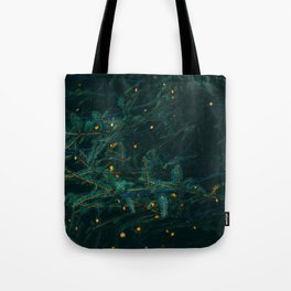 Evergreen and Golden Lights (Color) Tote Bag
