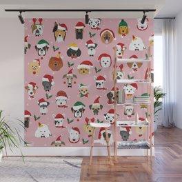Christmas Dog Pattern Illustration Wall Mural