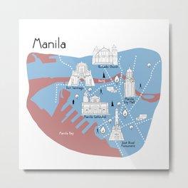 Manila Map - Original Metal Print