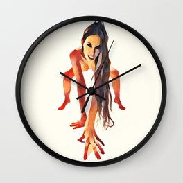 2282s-JAL  Beautiful Nude Avonelle On Her Toes and Fingers Long Hair Hanging Down Wall Clock
