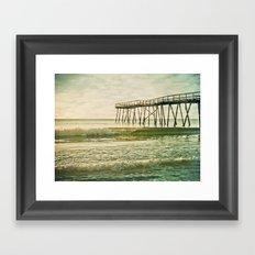 Lo-fi Oceanic Pier Wrightsville Beach NC Sunrise Vintage Tones Framed Art Print