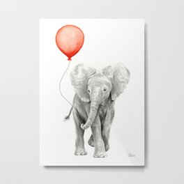 Baby Elephant Watercolor Red Balloon Nursery Decor Metal Print