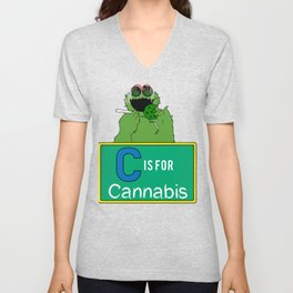 C is for Cannabis Green Monster eating Cookies and Smoking Unisex V-Neck