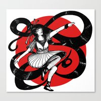 dancing Canvas Prints featuring Dancing by Wivita