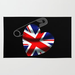 UK Heart Flag Safety Pin Rug