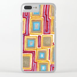Crimson Gold and Squares Clear iPhone Case