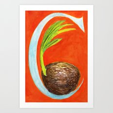 C is for Coconut Art Print