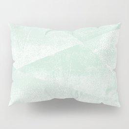 Mint Green and White Geometric Triangles Lino-Textured Print Pillow Sham