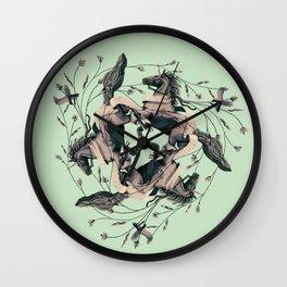 Horses and birds Wall Clock