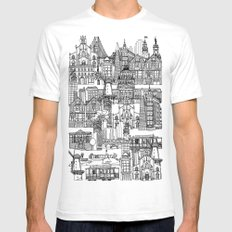 San Francisco coral Mens Fitted Tee SMALL White