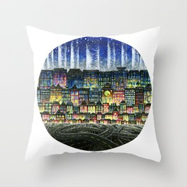 Crowded Haunts Throw Pillow
