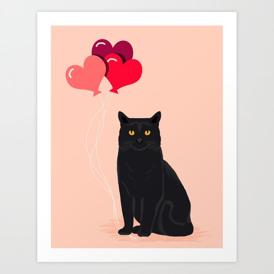 Black Cat Love balloons valentine gifts for cat lady cat people gifts ideas funny cat themed gifts Art Print