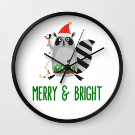 Merry & Bright Racoon with Christmas Lights Wall Clock