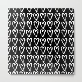 Black & White-Love Heart Pattern- Mix & Match with Simplicty of life Metal Print