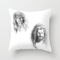 fili Throw Pillows featuring Fili and Kili by Morgan Ofsharick - meoillustration