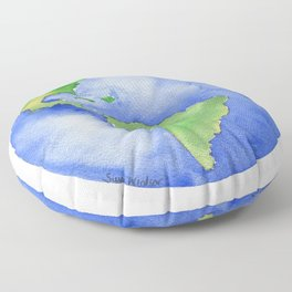 Earth Watercolor Painting Floor Pillow