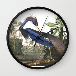 Louisiana heron, Birds of America, Audubon Plate 217 Wall Clock