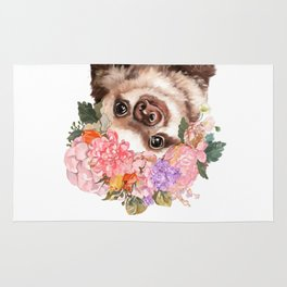Baby Sloth with Flowers Crown in White Rug
