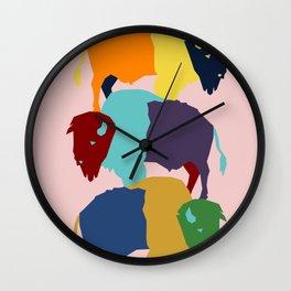 Pop Art Buffalo - American Bison Pop Art - Southwest Inspired Art Wall Clock
