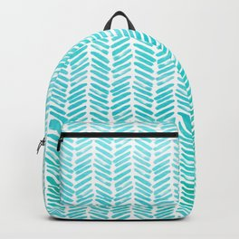 Handpainted Chevron pattern - small - light green and aqua teal Backpack