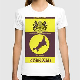 Cornwall vintage style map poster T-shirt