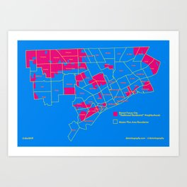 "Map: Detroit Future City ""Neighborhoods"" Art Print"