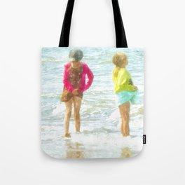 Wading In The Ocean Tote Bag