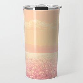 Dreamy Champagne Pink Sparkling Ocean Travel Mug