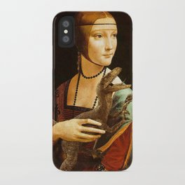 Lady with a Velociraptor iPhone Case